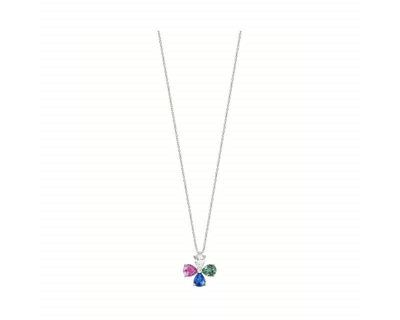 FROJO Pendentif or gris multi poires saphirs 1,30ct bleus rose et vert poire diamant 0,30ct