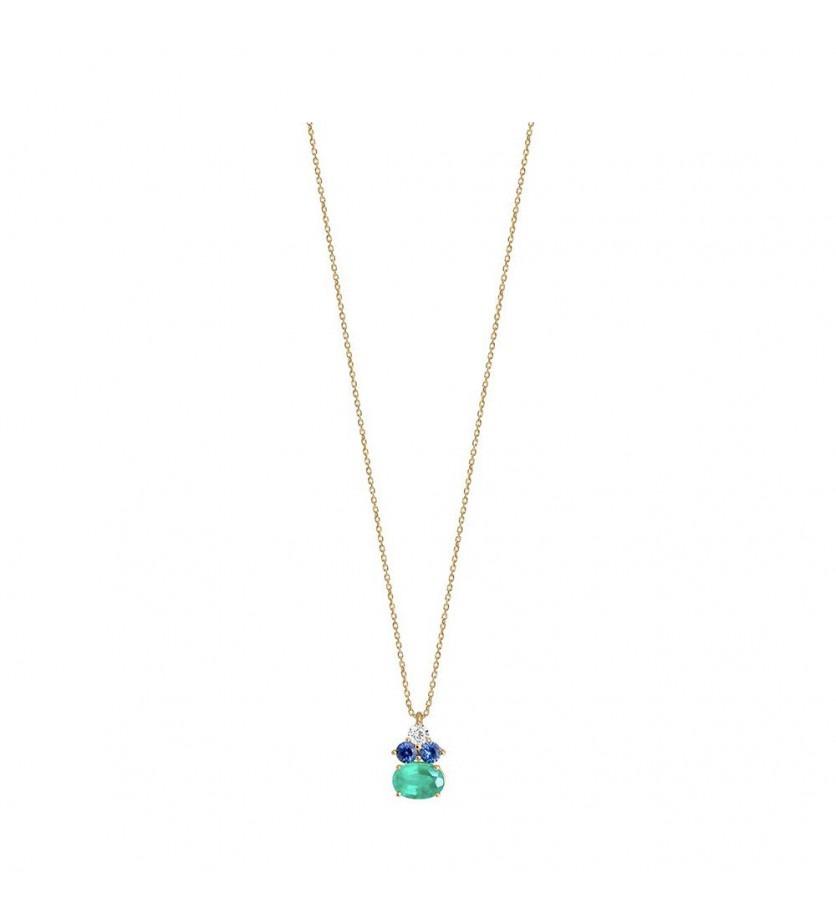Pendentif or jaune émeraude ovale 0,80ct saphirs bleus 0,22ct + diamant 0,10ct