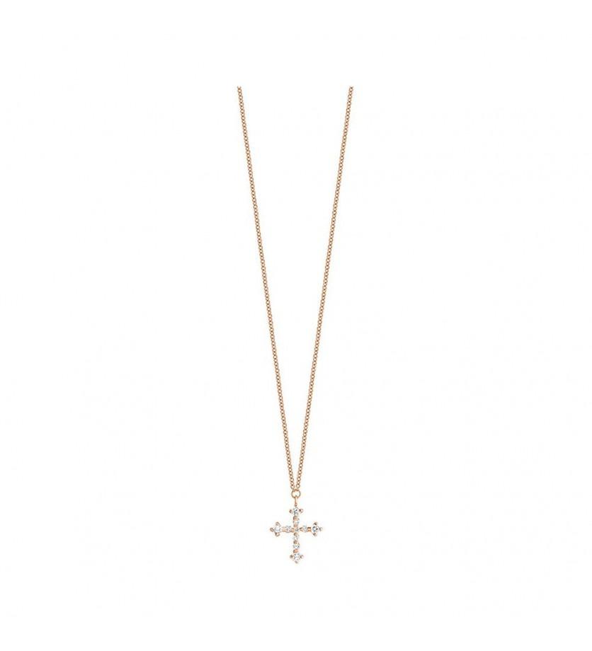 Pendentif Croix pavé diamants sur chaîne en or rose