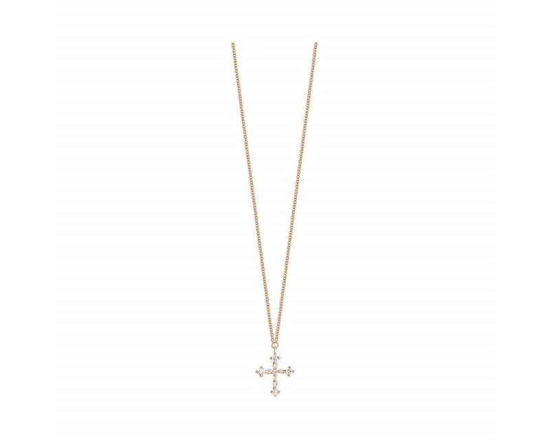FROJO Pendentif Croix diamants sur chaine en or rose 45cm