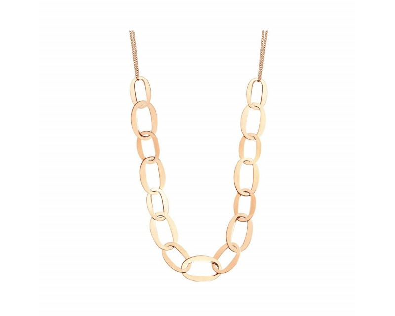 FROJO Collier maillons ovales en or rose sur double chaîne en or rose