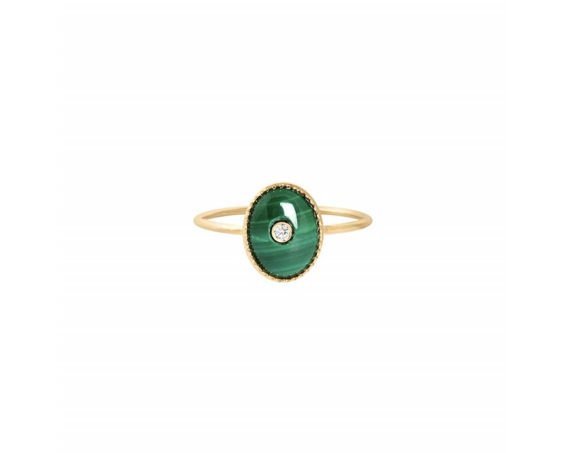 CHARLET Bague Talisman malachite or jaune