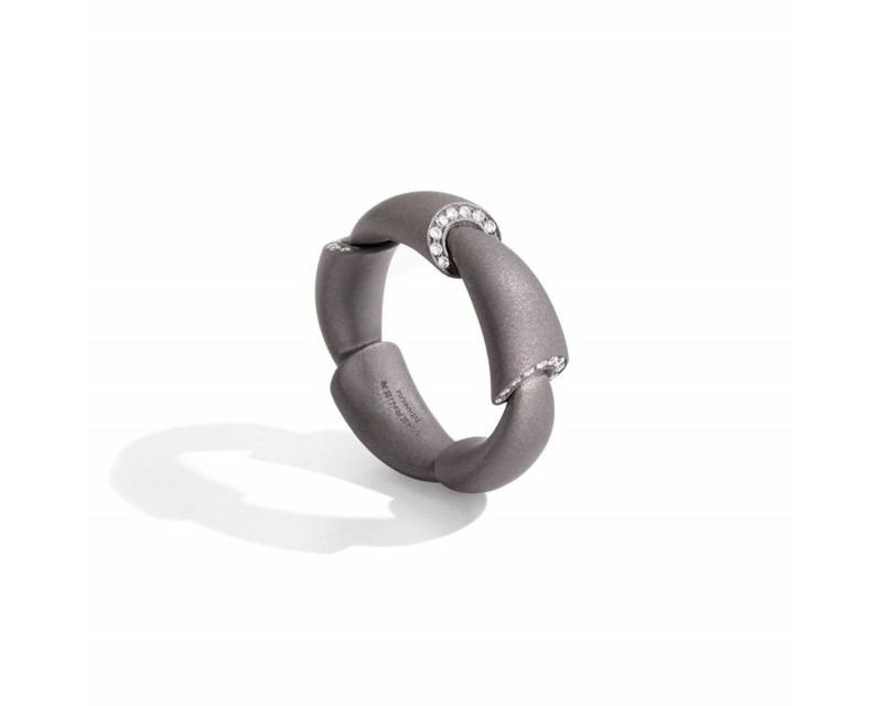 VHERNIER Bague Calla moyen modèle en titane avec 5 motifs pavés diamants