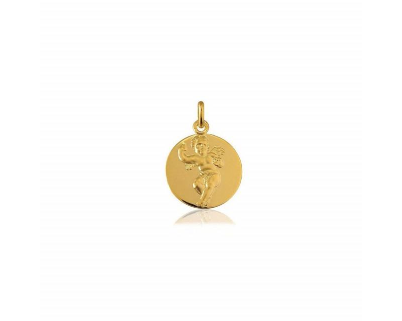 ARTHUS BERTRAND Médaille Angelot or jaune poli/sablé 18mm