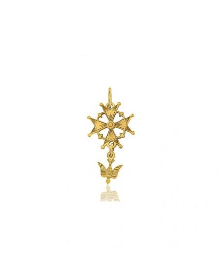 Croix Huguenotte or jaune 15mm