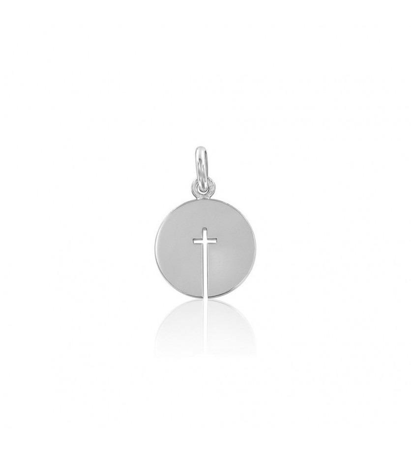 ARTHUS BERTRAND Médaille Croix ouverte or gris 14mm