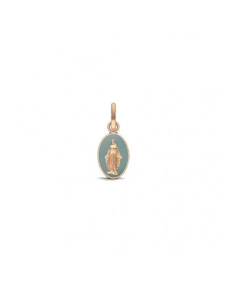 Médaille Vierge Miraculeuse 2 faces 10mm or rose sablé laque vert grisé
