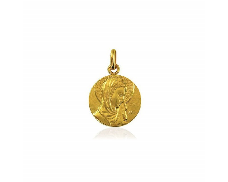 Médaille Vierge au Voile or jaune polie 18mm