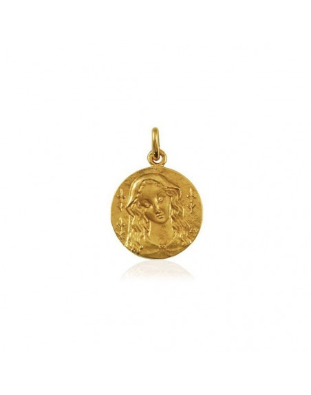Médaille Vierge au Lys or jaune poli 18mm