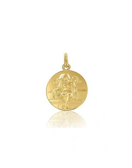 Médaille Ange d'Amiens or jaune polie 18mm