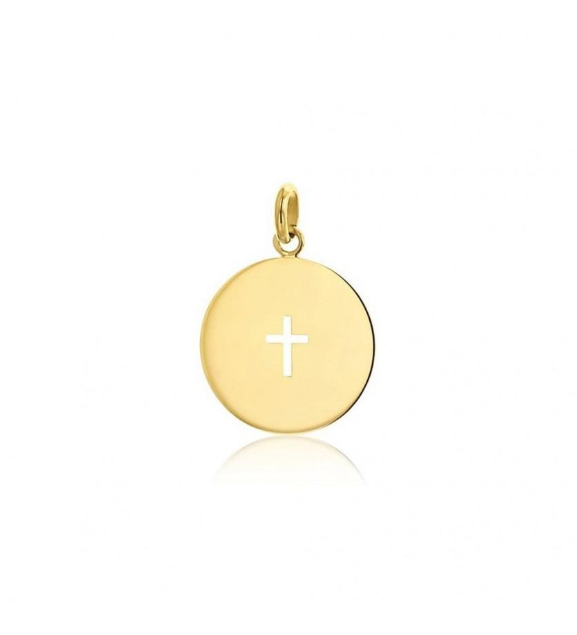 ARTHUS BERTRAND Médaille Croix ajourée or jaune poli 18mm
