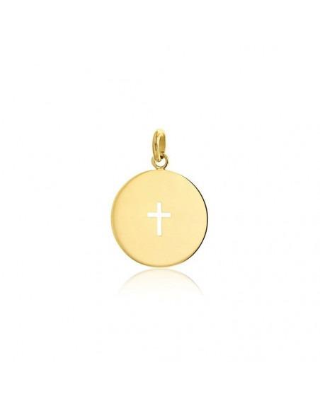 Médaille Croix ajourée or jaune poli 18mm