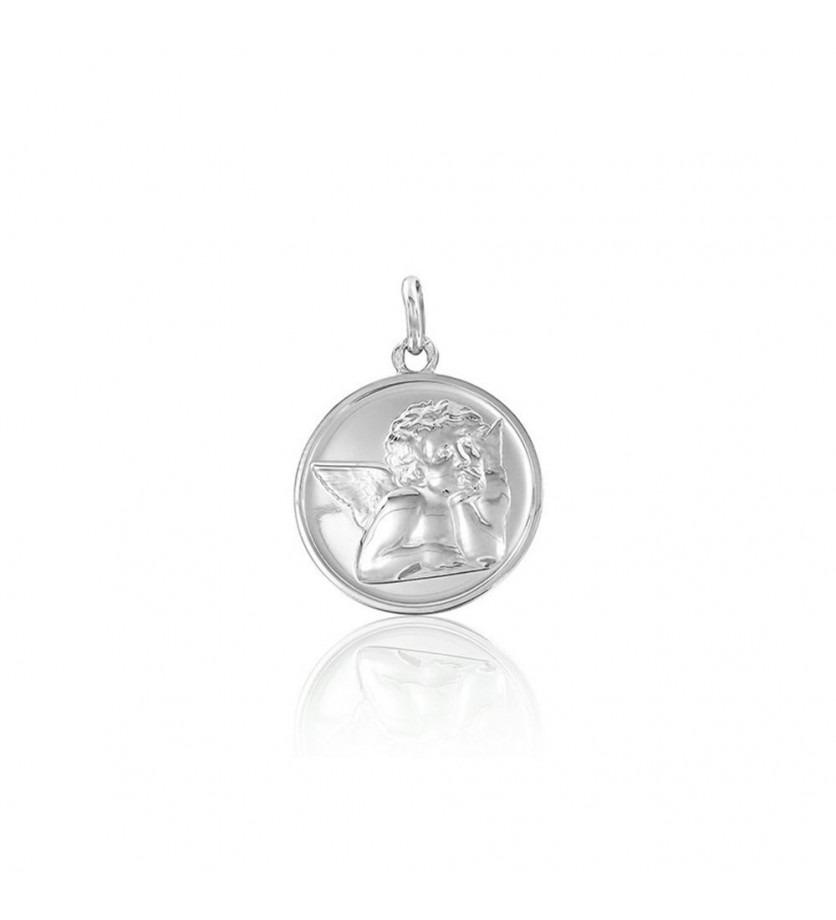ARTHUS BERTRAND Médaille Ange de Raphaël or gris 18mm