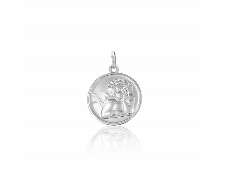 Médaille Ange de Raphaël or gris 18mm
