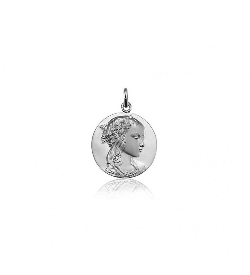 ARTHUS BERTRAND Médaille Vierge Adorazione or gris poli/sablé 18mm mince