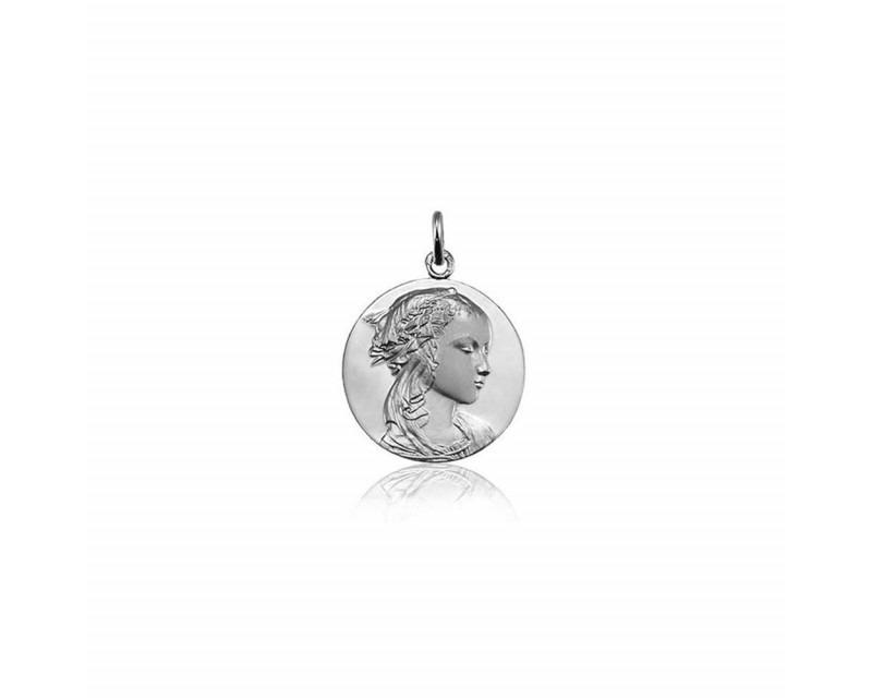 Médaille Vierge Adorazione or gris poli sablé 18mm mince