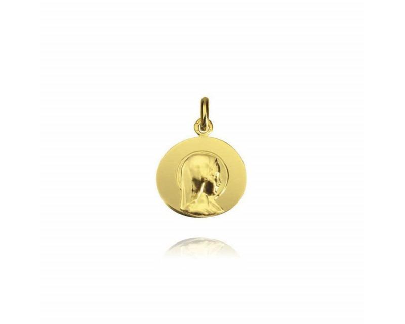 Galet Vierge Jeune or jaune polie 16mm mince