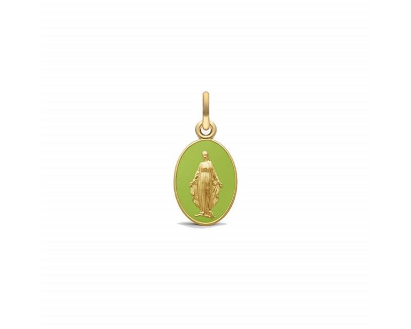 ARTHUS BERTRAND Médaille Vierge Miraculeuse 2 faces 13mm or jaune sablé laque vert