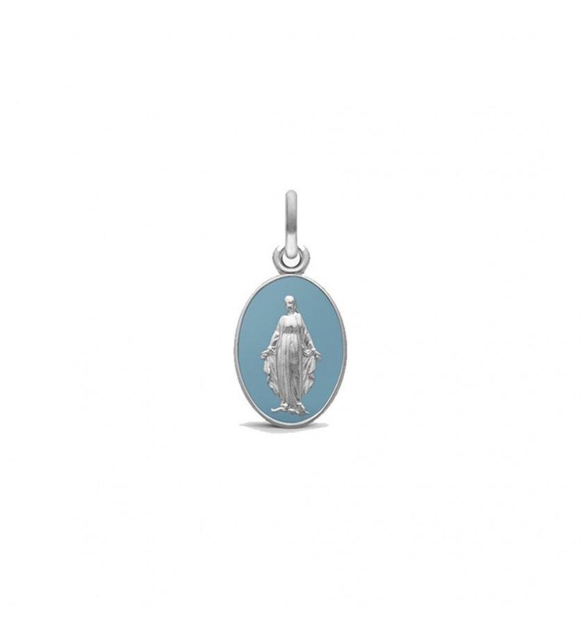 ARTHUS BERTRAND Médaille Vierge Miraculeuse 2 faces 13mm or gris sablé laque bleu gris