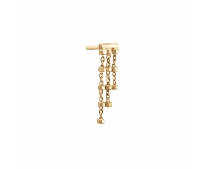 Boucle d'oreille Diamantée triple chaîne or jaune (à l'unité)