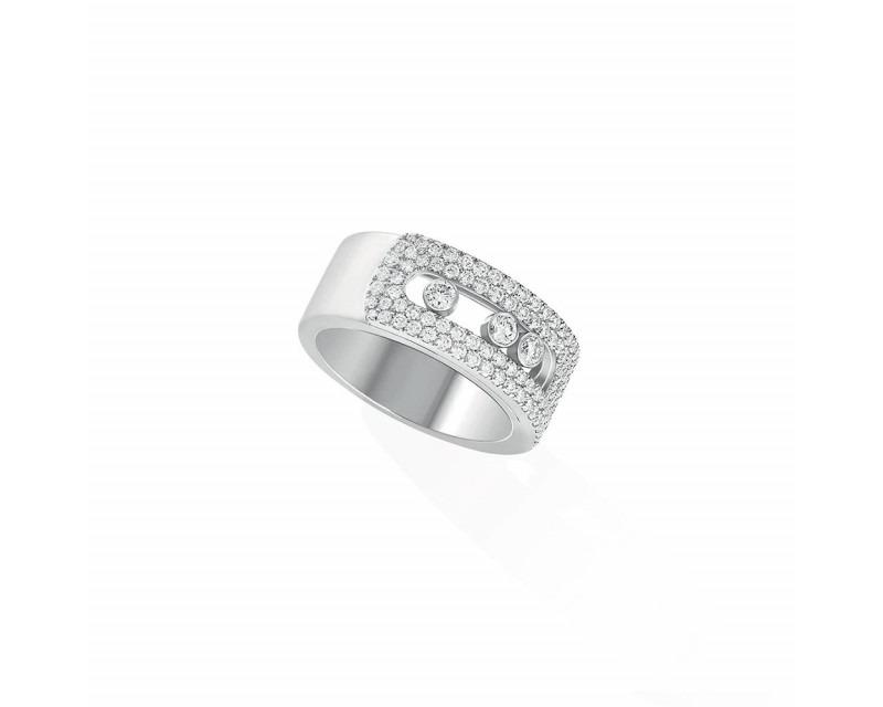 Bague Move Noa GM or blanc pavée diamants