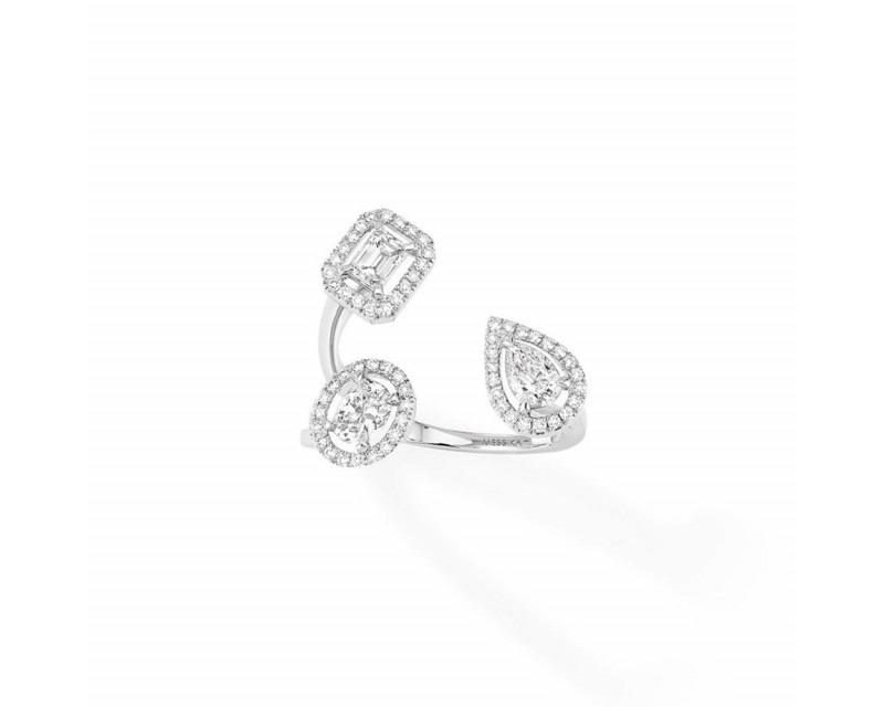 MESSIKA Bague My Twin trilogy or gris diamants taille émeraude poire et ovale 3x0,25ct environ diama