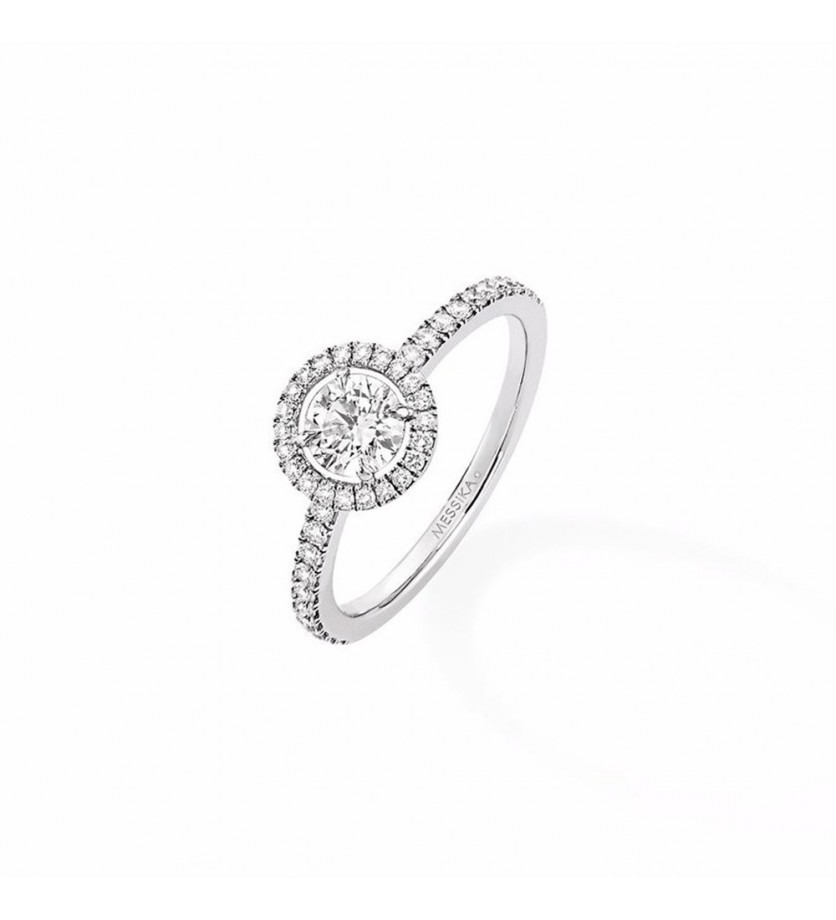 Solitaire Joy GM or gris diamant taille ronde 0,46ct entourage diamants