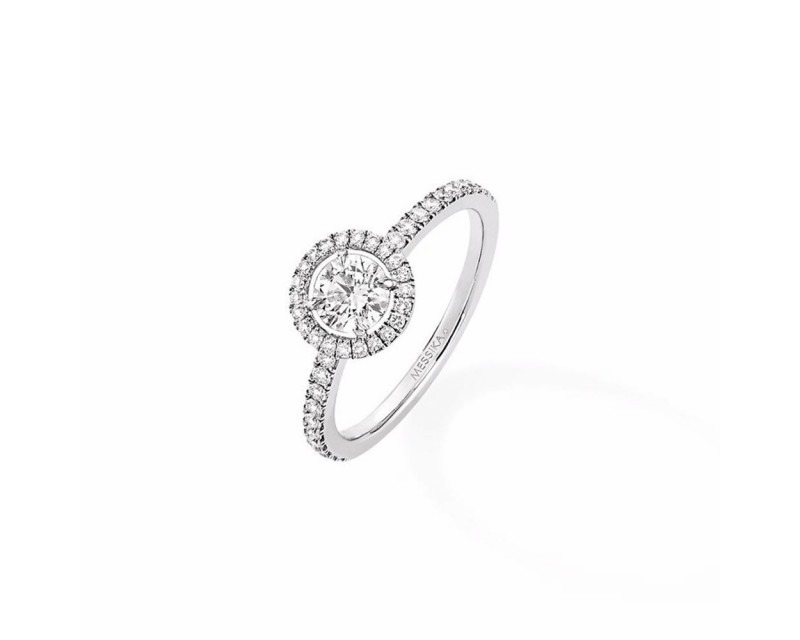 MESSIKA Solitaire Joy GM or gris diamant taille ronde 0,46ct entourage diamants
