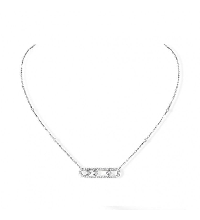 Collier Move pavé or gris diamants sur chaîne or blanc
