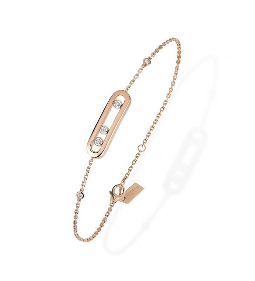 MESSIKA Bracelet Baby Move or rose diamants sur chaine en or rose avec minis diamants sertis clos, l