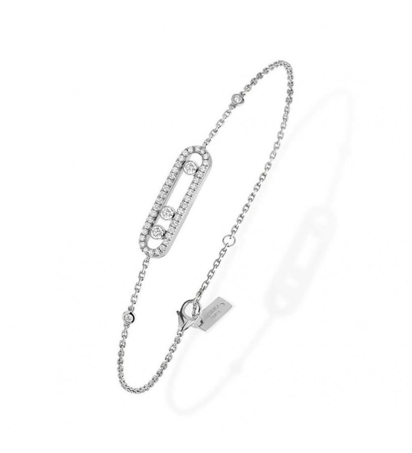 MESSIKA Bracelet Baby Move or gris pavé diamants sur chaîne avec minis diamants sertis clos, longueu