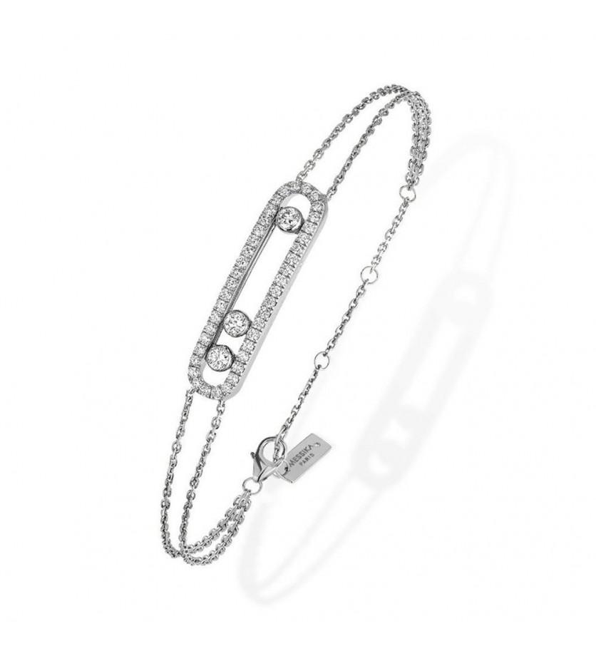 MESSIKA Bracelet Move or gris pavé diamants sur double chaîne, longueur ajustable