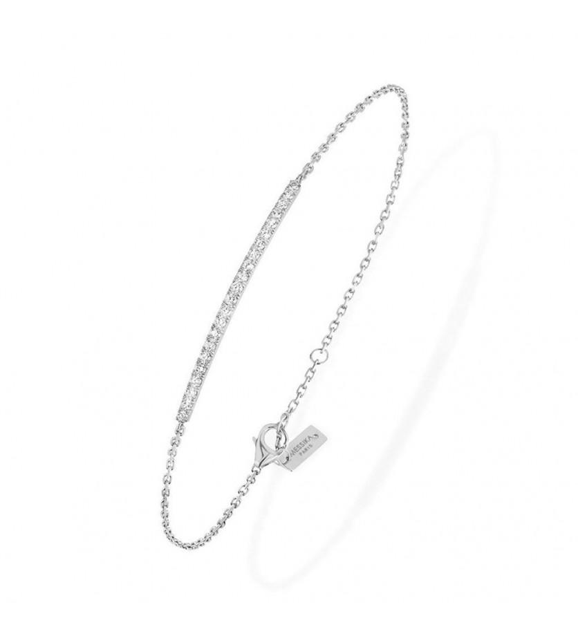 Bracelet Gatsby barrette or blanc pavé diamants sur chaîne