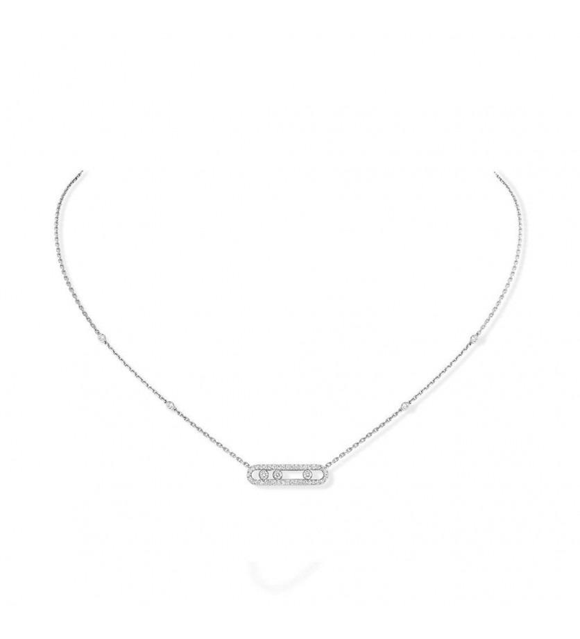 MESSIKA Collier Baby Move or gris pavé diamants sur chaîne en or gris avec minis diamants sertis clo