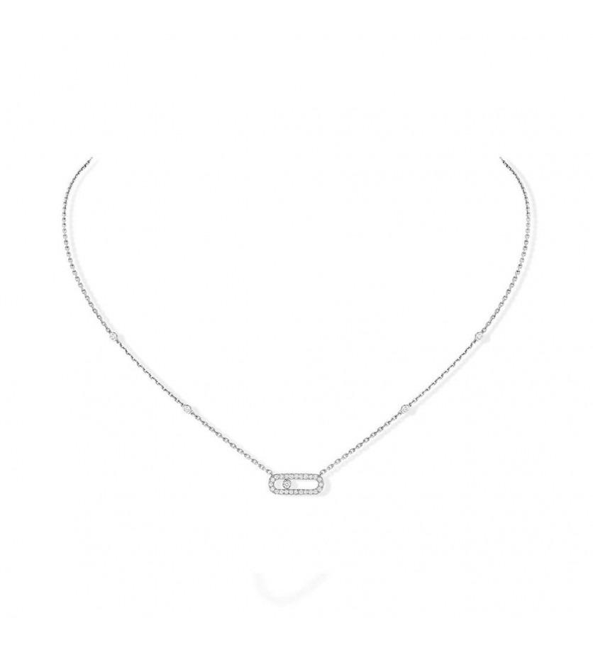 Pendentif Move Uno or gris diamants sur chaîne or gris avec minis diamants sertis clos, longueur aju