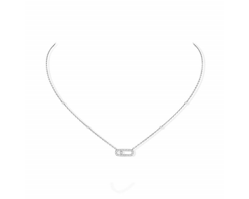 MESSIKA Pendentif Move Uno or gris diamants sur chaîne or gris avec minis diamants sertis clos, long