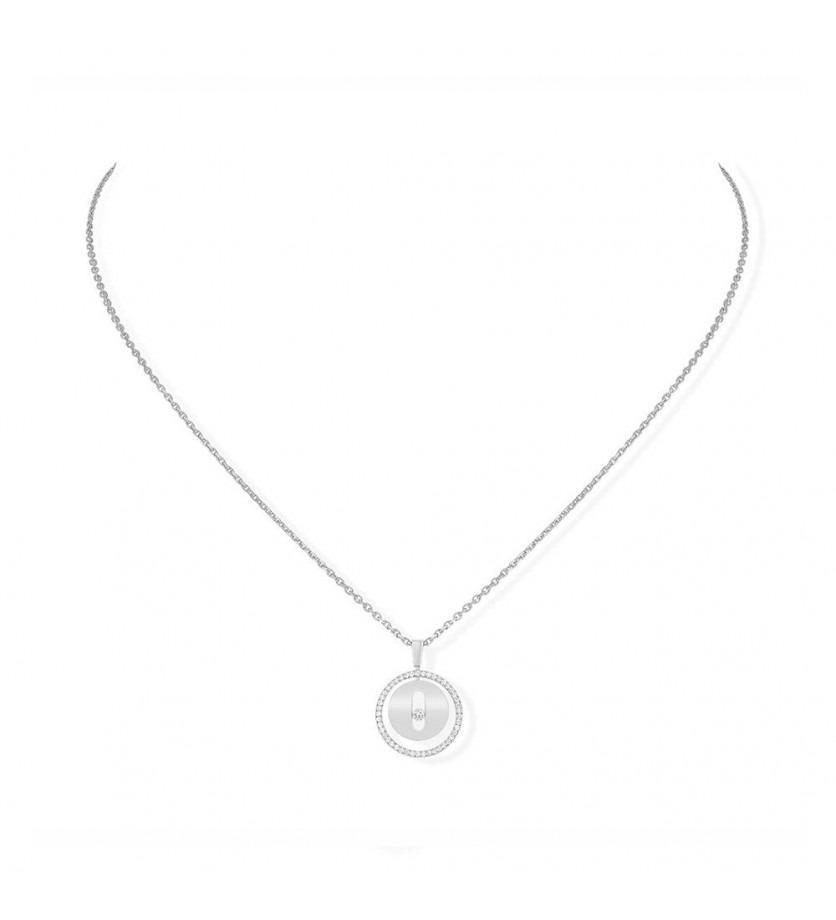 Collier Lucky Move PM or gris entourage diamants sur chaîne en or gris 45cm, longueur ajsutable