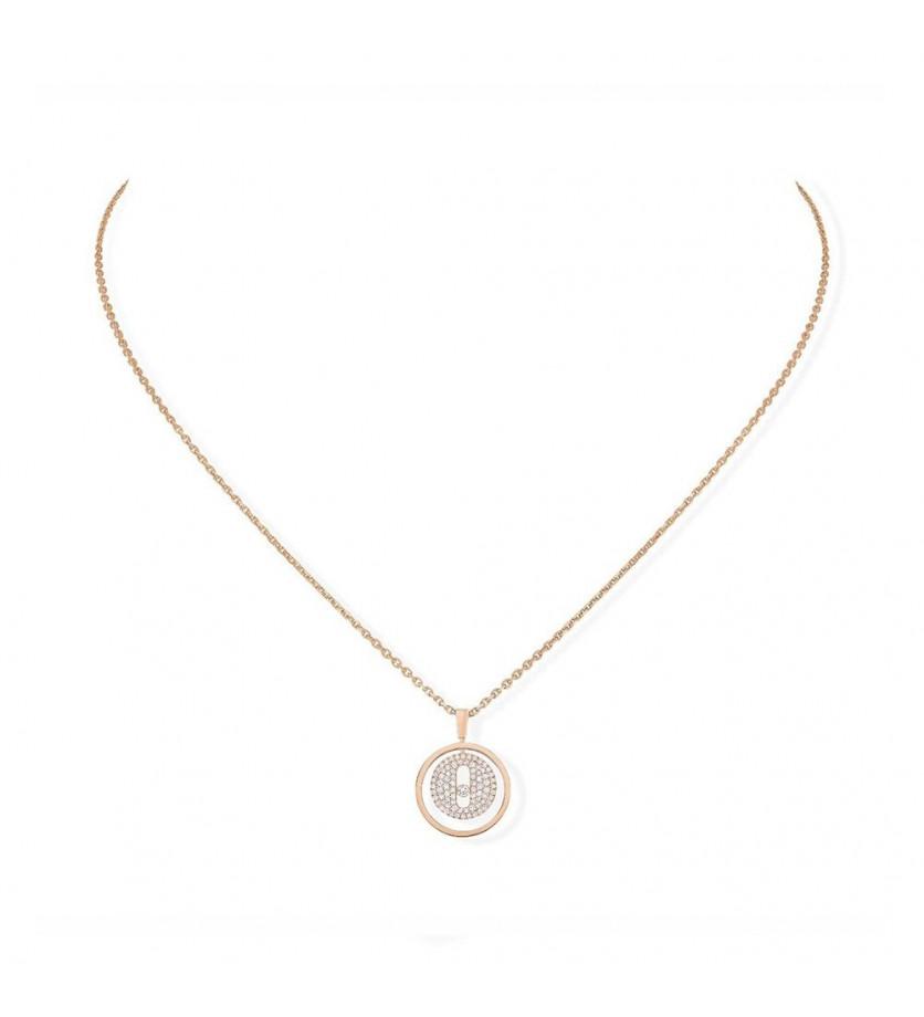 Collier Lucky Move PM or rose pavé diamants sur chaîne or rose 45cm, longueur ajustable