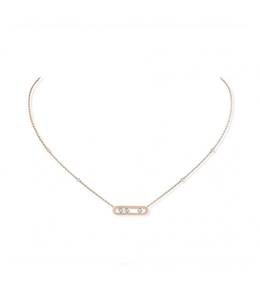 MESSIKA Collier Baby Move or rose diamants sur chaîne en or rose avec minis diamants sertis clos, lo