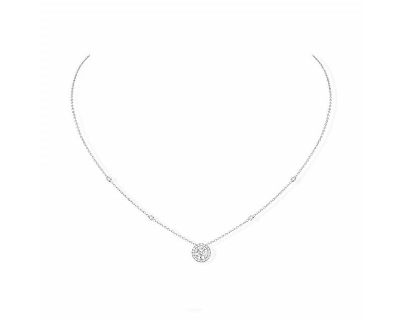 Collier Joy or gris diamants 0,45ct EVS1 certificat GIA 2368479419 entourage diamants