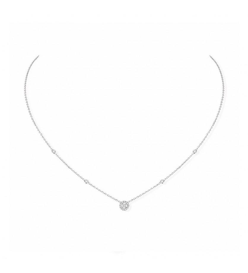 Collier Mini Joy or blanc diamants sur chaîne or blanc, longueur ajustable