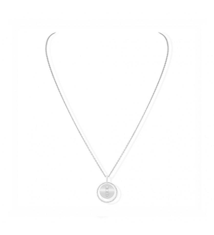 Collier Lucky Move MM or blanc entourage diamants sur chaine or blanc 65cm, longueur ajustable