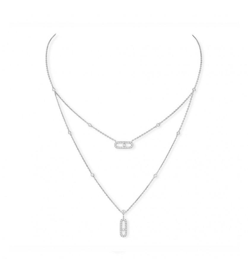 Collier Move Uno pavé 2 rangs or gris diamants double rangs mini diamants sertis clos