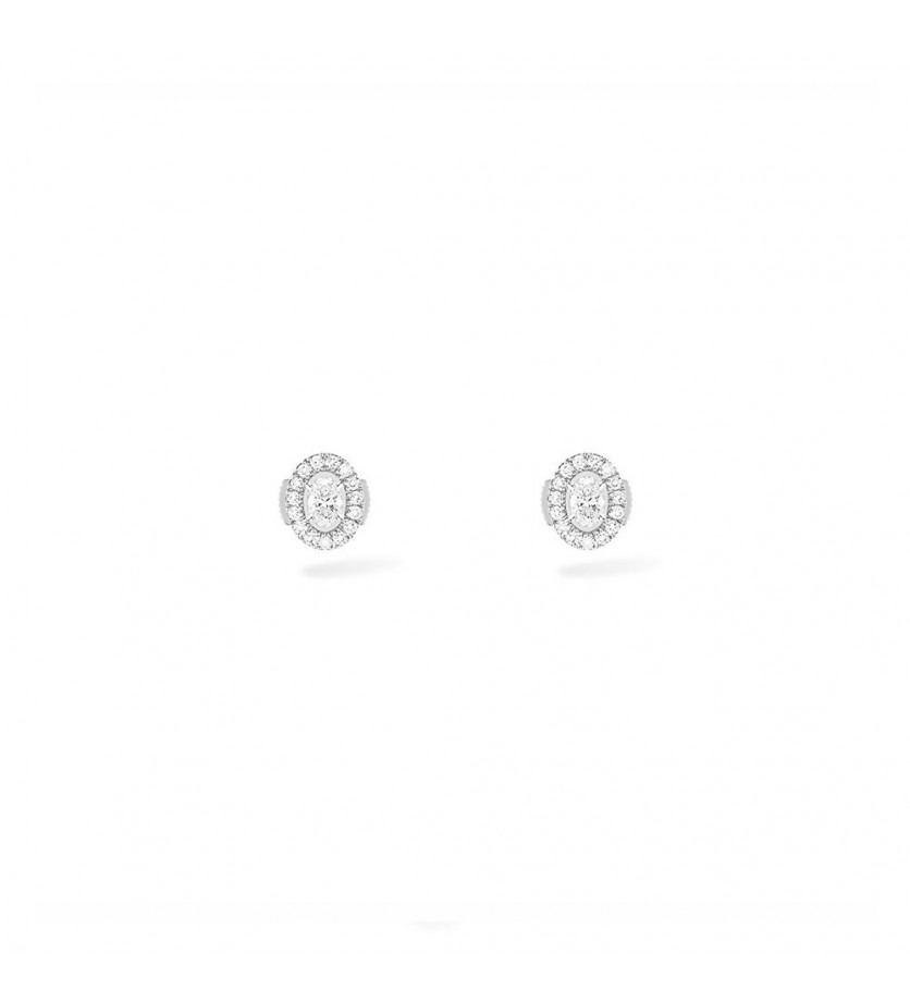 Puces d'oreille Glam' Azone or blanc diamants