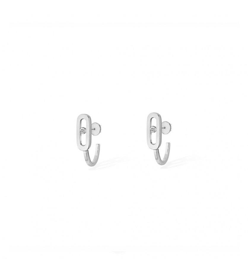 Boucles d'oreille Move Uno or blanc diamants