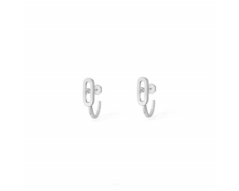 Boucles d'oreille mini créoles Move Uno or gris diamants