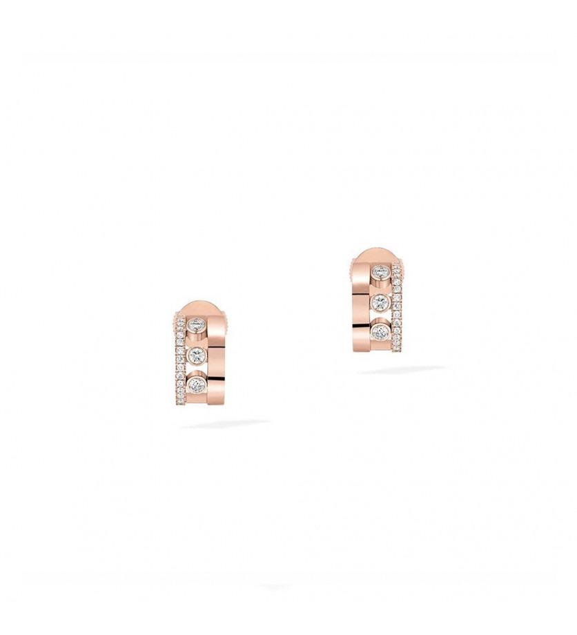 Boucles d'oreille mini créoles Move Romane or rose diamants