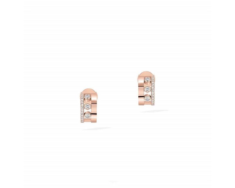 MESSIKA Boucles d'oreille mini créoles Move Romane or rose diamants