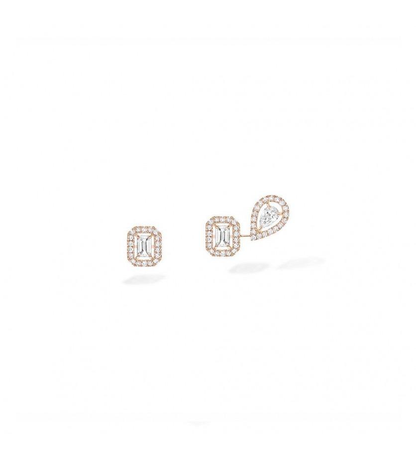 Boucles d'oreilles My Twin 1+2 or rose diamants