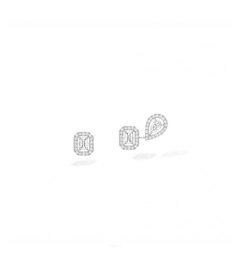 Boucles d'oreilles My Twin 1+2 or gris diamants